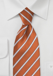 Persimmon Orange and White Tie in XL Length