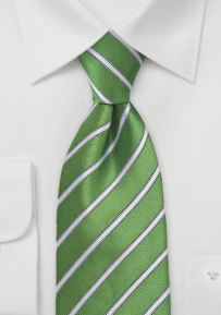 Organic Green and White Kids Sized Necktie