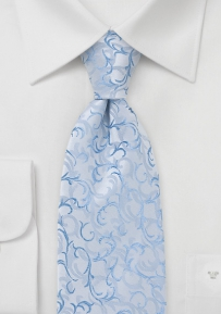 Capri Blue and Silver Scroll Patterned Tie