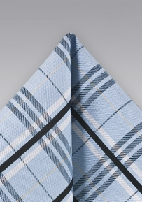 Elegant Silk Pocket Square with Plaid Design