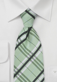 Extra Long Plaid Tie in Tonal Greens