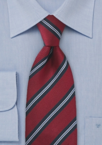 XL Length British Stripe Tie in Red and Navy