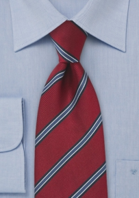 Red and Blue Regimental Tie in XL Length