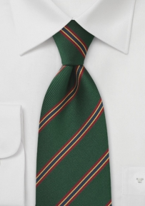 British Regimental Tie for Kids in Dark Green with Red, Gold, and Blue Stripes