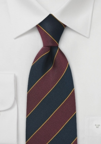 Regimental Kids Neck Tie in Burgundy and Navy