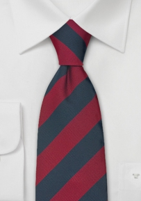 Extra Long British Tie in Red and Navy