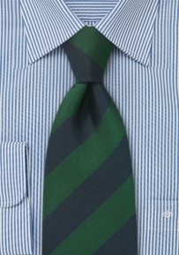 XL Length Regimental Tie in Dark Green and Navy