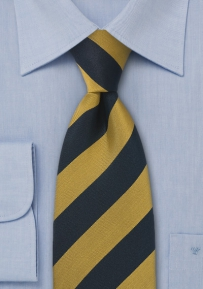Extra Long Striped Navy and Gold Regimental Tie