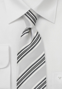 Striped Tie in Brushed Silver