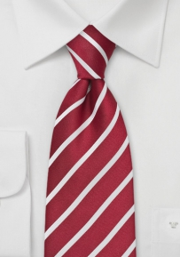 Deep Red and White Kids Tie