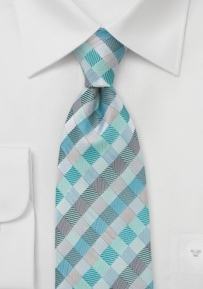 Diamond Tie in Aquas and Silvers in Boys Size
