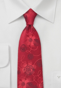 Red Tie with Embroidered Flowers