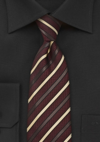Burgundy Striped Tie with Gold Stripes