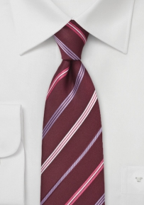 Modern Maroon and Pink Striped Tie