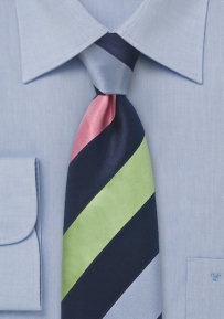 Wide Striped Tie in Spring Colors