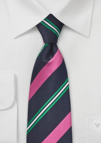 Mens Navy Tie with Bright Pink Stripes