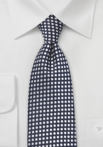 Embroidered Polka Dot Tie in Midnight Blue