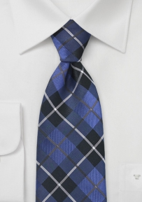 Black and Blue Tartan Plaid Tie