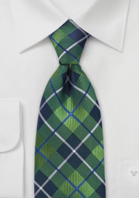 Extra Long Plaid Tie in Blues and Spring Greens