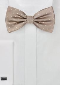 Dark Champagne Tan Polka Dot Bow Tie