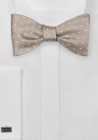 Golden Champagne Polka Dot Bow Tie