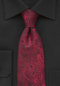 Extra Long Floral Tie in Reds and Blacks