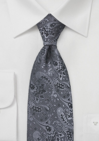 Hand Embroidered Floral Tie in Greys