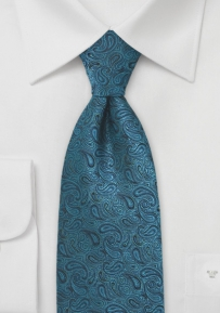 Modern XL Size Paisley Tie in Handsome Teals