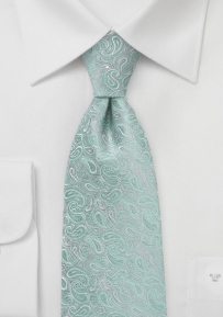 Paisley Patterned XL Tie in Mint