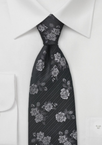 Elegant Floral Tie in Black and Pewter
