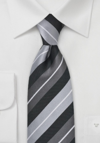Polished Silver and Black Necktie