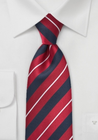 Classic Striped Tie in Navy, Red and White