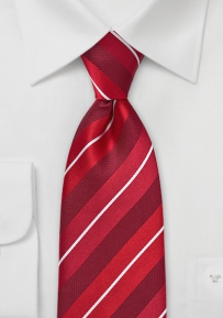 Mens Striped Tie in Statement Red