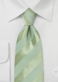 Light Green Striped Tie for Boys