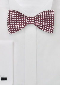 Self Tie Polka Dot Bow Tie in Burgundy and Silver