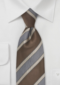 Modern Striped Tie in Cognac