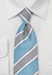 Modern Kids Tie in Adriatic Blue and White