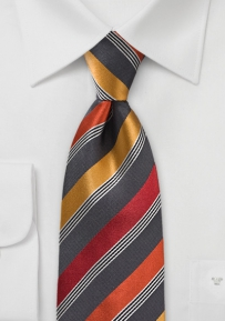 Mens Modern Striped Tie in Oranges