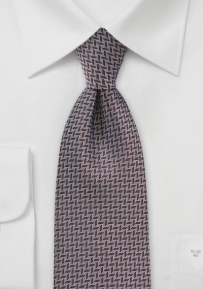 Brown and White Chevron Patterned Tie