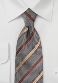 Striped Tie in Charcoal, Copper and Bronze