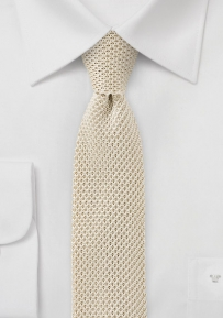 Trendy Silk Knit Skinny Tie in Cream