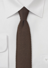 Solid Color Knitted Silk Tie in Coffee Brown