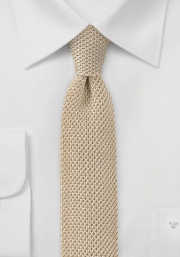 Golden Beige Colored Silk Knit Tie