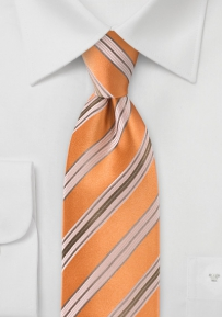 Sherbet Orange and Tan Striped Tie