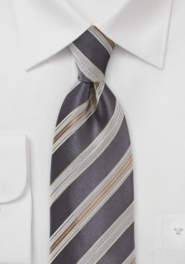 Mens Tie in Elegant Greys and Golds
