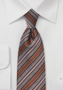 Asymmetrical Striped Tie in Bronzes