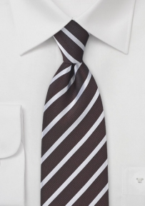 Pure Silk Tie in Dark Chocolate Silver Stripe
