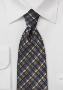 Mens Grid Necktie in Blues and Golds