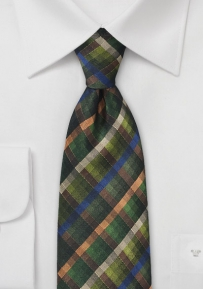 Pine, Moss, and Cypress Green Plaid Tie