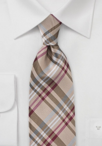 Modern Plaid Tie in Harvest Gold